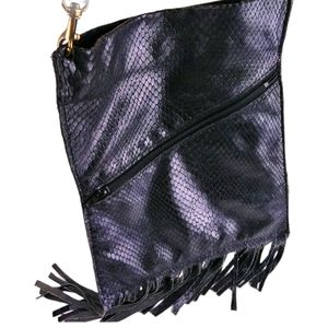 "Black ""Snake skin"" cross body purse bag"